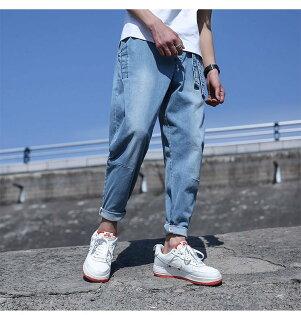 FINDSENSEH12018夏季寬鬆大碼哈倫褲九分褲藍色牛仔褲小腳褲潮水洗牛仔褲