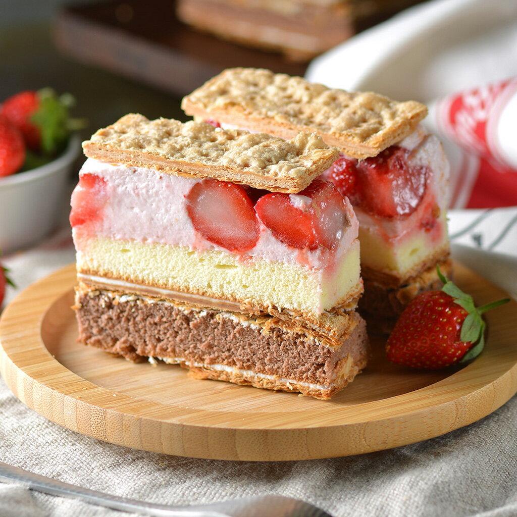 ★最美好的大湖草莓★爆~爆量草莓拿破崙★任選2入組X大湖直送草莓就是多到浮誇!3倍認真草莓✨新鮮草莓慕斯【拿破崙先生】 0