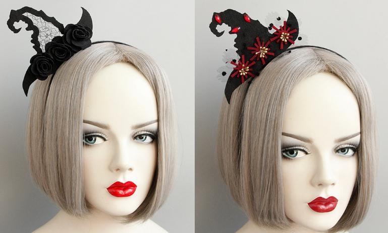 東區派對-萬聖節服裝/巫婆髮箍/萬聖節髮箍/巫婆帽/巫婆帽髮箍/蕾絲巫婆帽髮箍/紅寶石巫婆帽髮箍