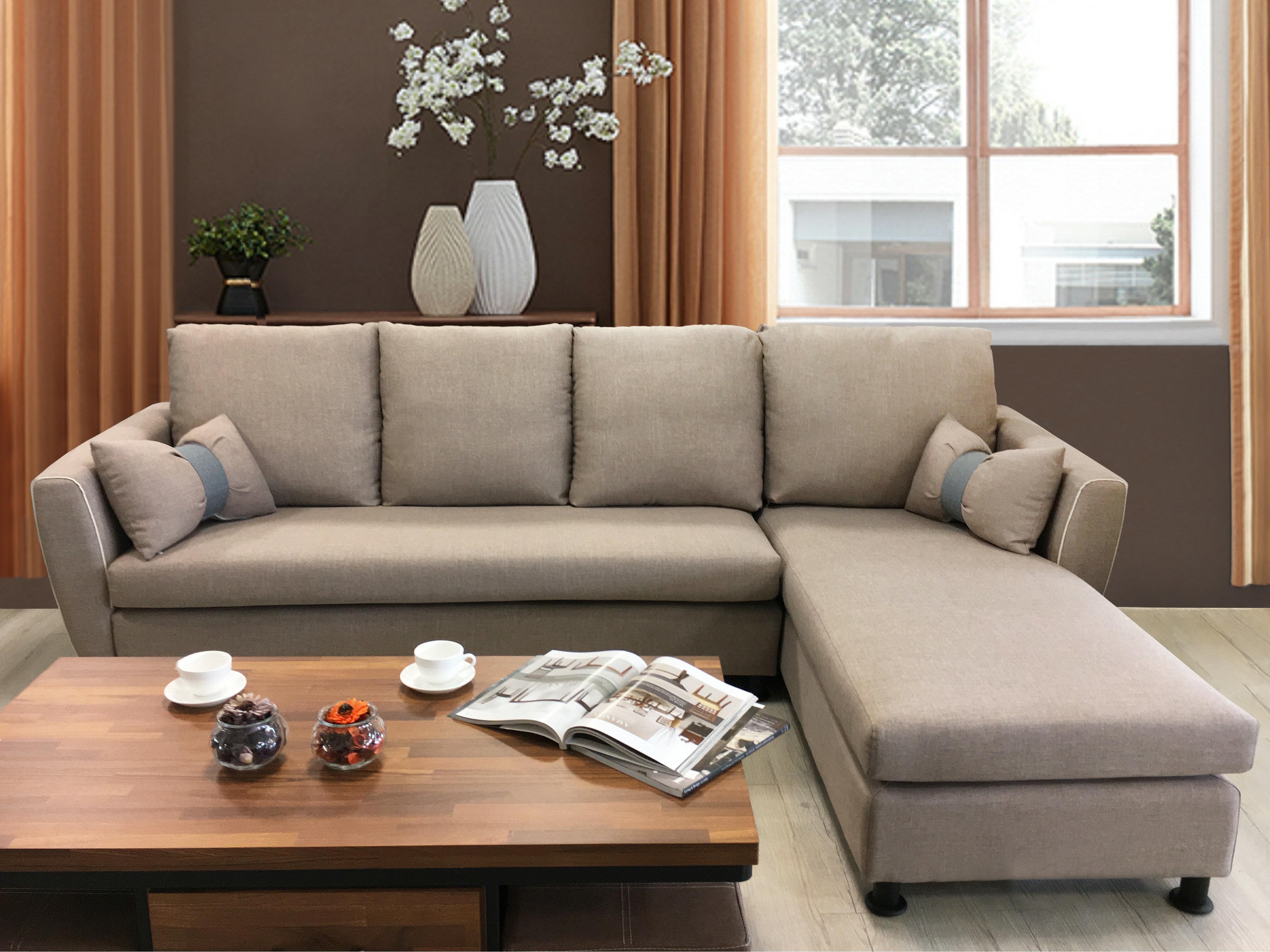 !新生活家具!《漢妮》亞麻布 L型沙發 布沙發 三人座+貴妃椅 附抱枕 古典 簡約現代 工業風