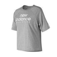 New Balance 美國慢跑鞋/跑步鞋推薦New Balance 女裝 短袖 休閒 復刻 領圍特殊剪裁 寬鬆 灰 白【運動世界】AWT81509AG