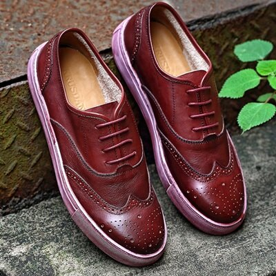 短靴真皮繫帶靴子-時尚休閒巴洛克雕花男靴3色73kk53【獨家進口】【米蘭精品】