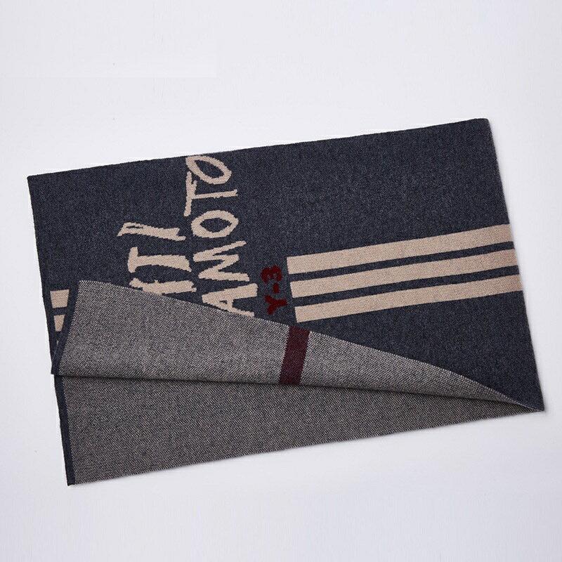 圍巾羊毛披肩-條紋塗鴉字母針織男配件2色73wh10【獨家進口】【米蘭精品】