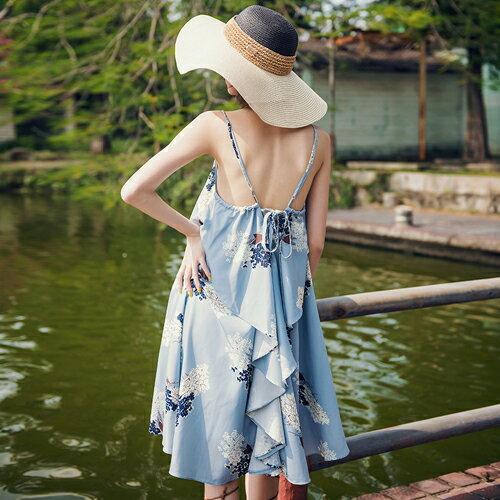 PS Mall 海島度假連身裙 傘擺荷葉印花背心洋裝【T630】 - 限時優惠好康折扣