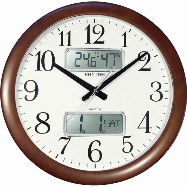 【樂天雙12/單筆滿3000元登記就抽PS5!】RHYTHM 麗聲鐘(CFG901) LCD面板圓形木紋掛鐘/41cm