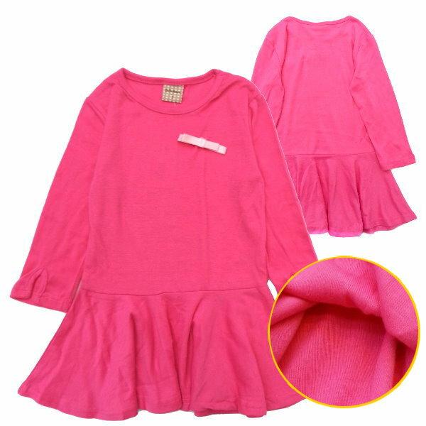 【班比納精品童裝】彈力素色波浪洋裝-粉紅【BN140911027】