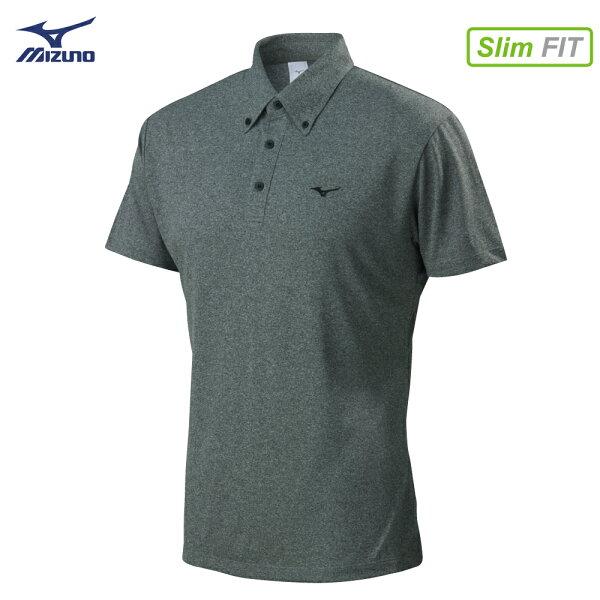 32TA802105(中灰)吸汗快乾材質合身版型男短袖POLO衫【美津濃MIZUNO】