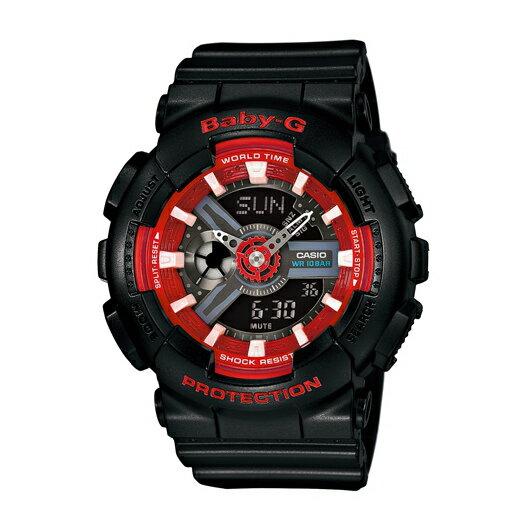 CASIO BABY-G BA-110SN-1A雙顯流行腕錶/紅面43.4mm