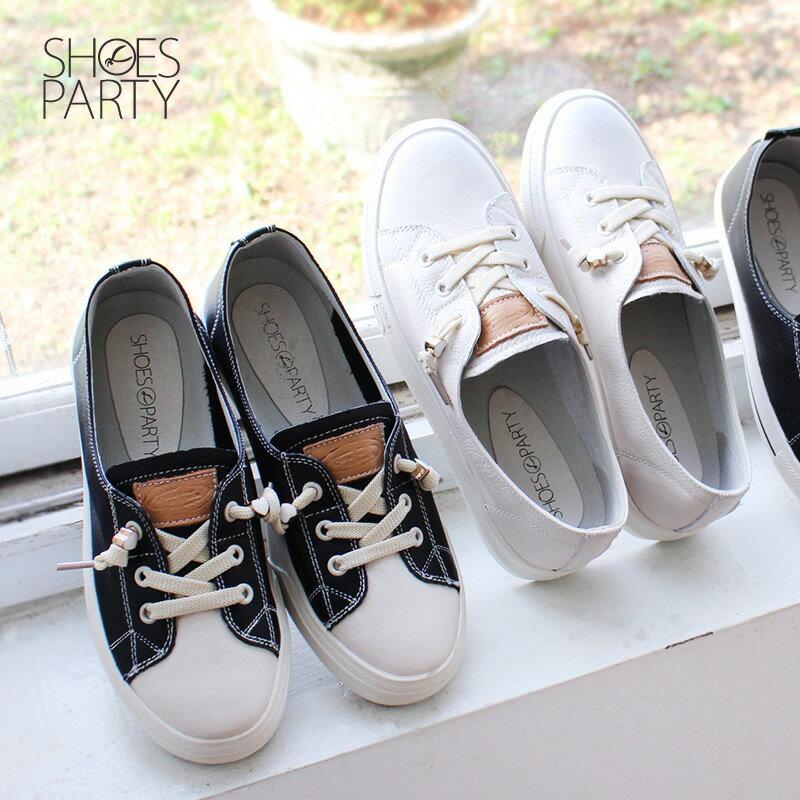 馬上出貨【F2-18201L】懶人救星,免綁鞋帶軟牛皮愛心結休閒鞋_Shoes Party 0