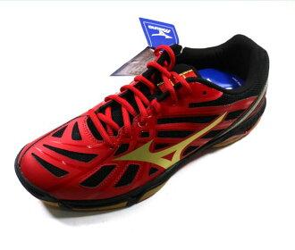 [陽光樂活]MIZUNO 美津濃 Wave Hurricane 3 男款排球鞋 紅x金 V1GA174007