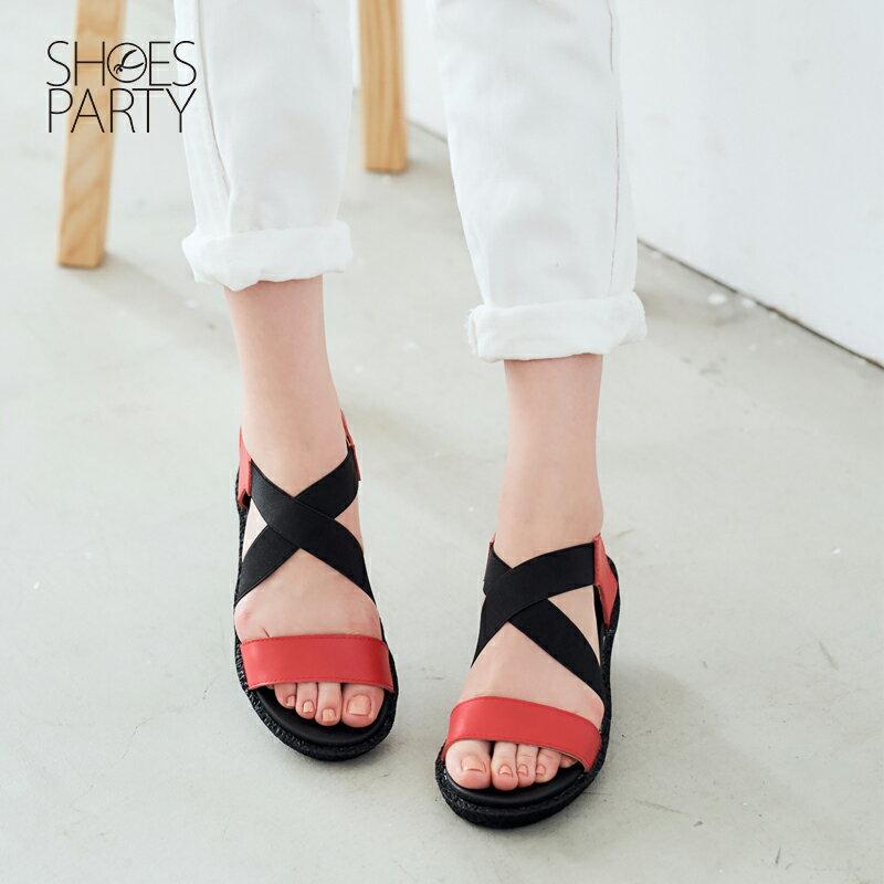 【S2-17322L】鬆緊帶X牛皮軟Q涼鞋_Shoes Party 1