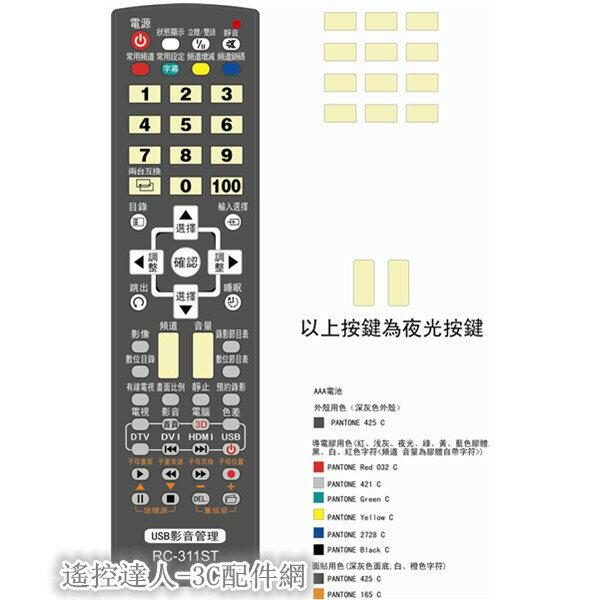 [遙控達人]RC-311ST SAMPO聲寶.SHARP夏寶王牌TCL液晶/電漿電視遙控器RC-308ST 302ST
