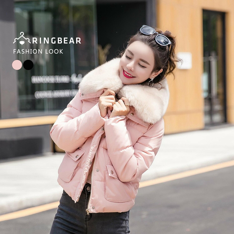 保暖外套--奢華貴氣高效暖意可拆式毛毛領排扣雙口袋羽絨棉外套(黑.粉L-3L)-J315眼圈熊中大尺碼 0