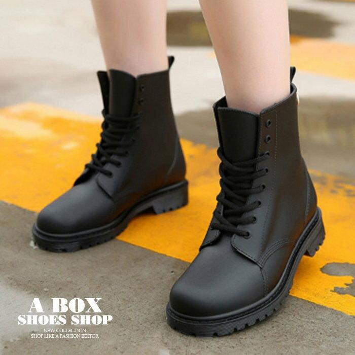 【AR809】晴雨兩穿2ways 韓版質感霧面消光超防水PVC 綁帶低粗跟雨鞋 / 雨靴 馬丁靴 機車靴 黑色 1
