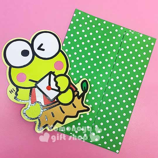 〔小禮堂〕大眼蛙 造型萬用卡片《綠.坐姿.拿信封》可立.附信封