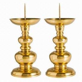 【光身葫蘆針燭臺-8英寸-純銅-底座10.8*高20cm-1對/組】復古簡約婚慶供佛光身葫蘆蠟燭台擺件蠟臺一對多款可選-7501025