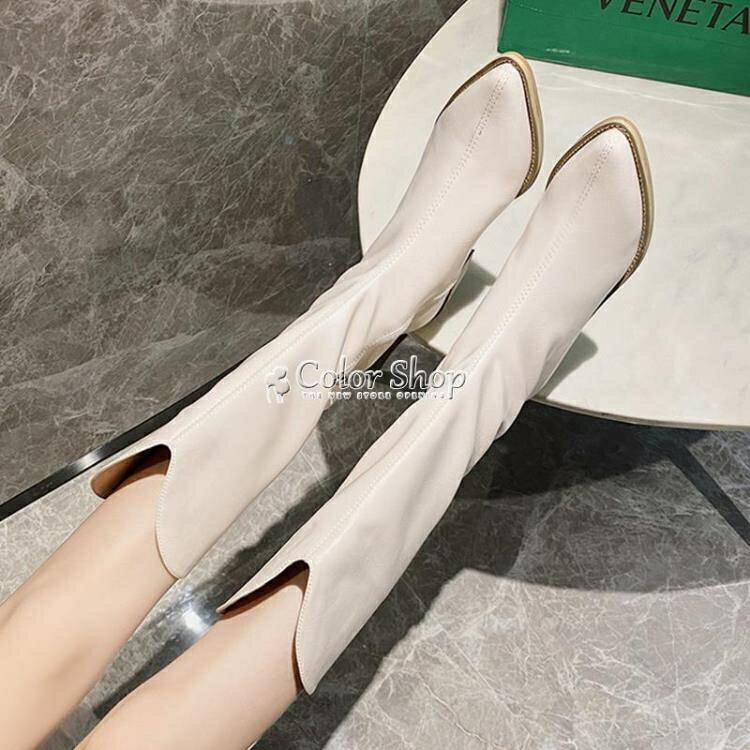 長筒靴女靴子2020夏季白色復古高跟鞋粗跟尖頭長靴高筒西部牛仔靴 快速出貨
