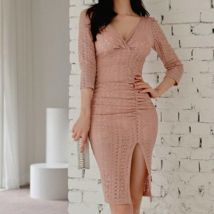 2021春裝新款韓版氣質V領修身中長款抽褶性感包臀開叉蕾絲連衣裙