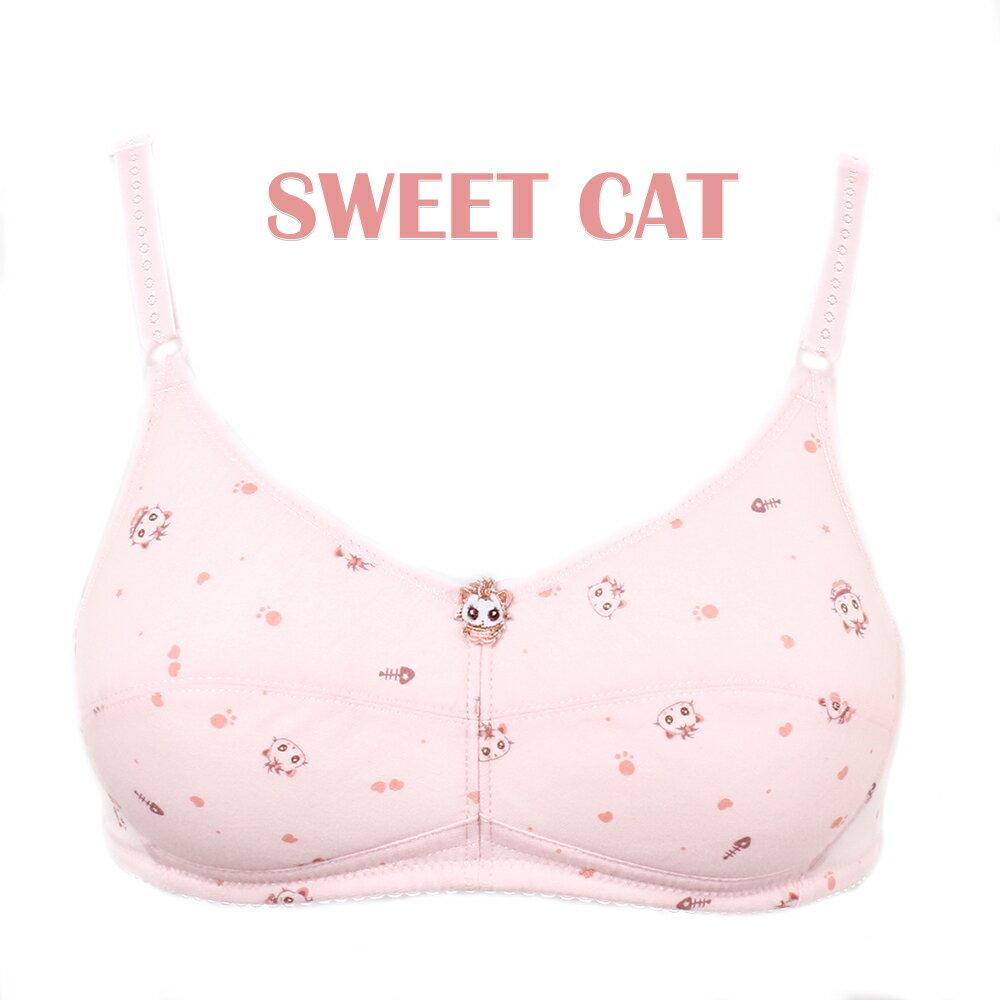 【夢蒂兒】俏皮貓咪。無鋼圈胸衣(粉) 1