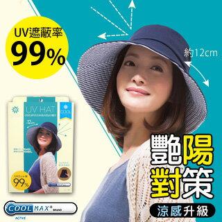 【NEEDS】COOL涼感日本12CM寬緣可折遮陽小臉帽(海軍藍x藍白條紋)