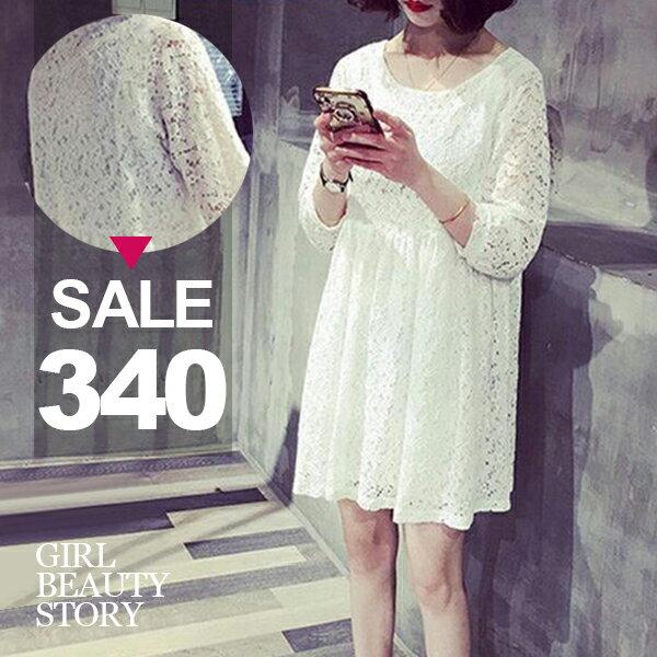 SISI~D6232~可愛甜美 寬鬆圓領顯瘦蕾絲雕花七分袖娃娃連身裙洋裝