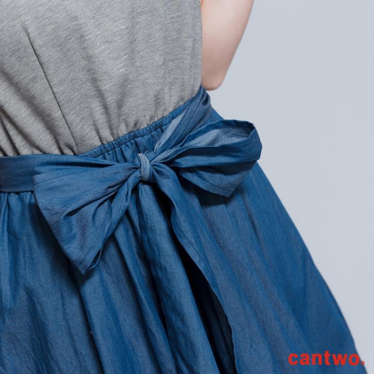 cantwo鑽飾小包袖丹寧系洋裝(共三色) 5