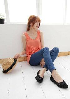 Pyf♥新款黑色亮片金屬光澤網狀尖頭平底鞋氣質甜美上班鞋40-42中大尺碼女鞋