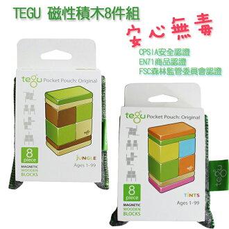 《任意門親子寶庫》美國tegu【TY286】環保無毒磁性積木8件組-調色盤/叢林