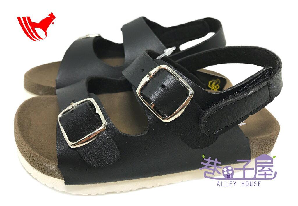【巷子屋】ROOSTER公雞 童款經典勃肯雙釦涼鞋 [2351] 黑 MIT台灣製造 超值價$198
