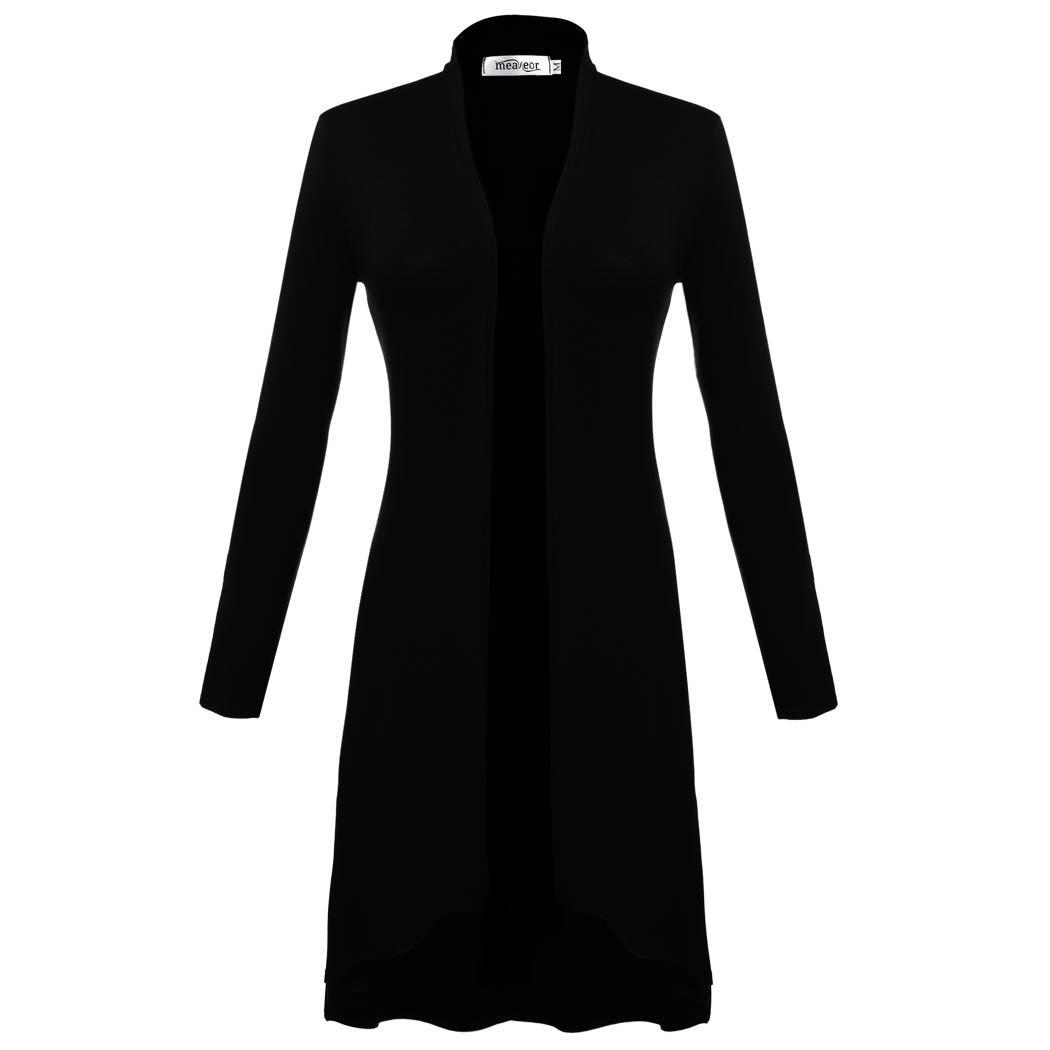 Women Long Sleeve Open Front Solid Long Cardigan Coat 1