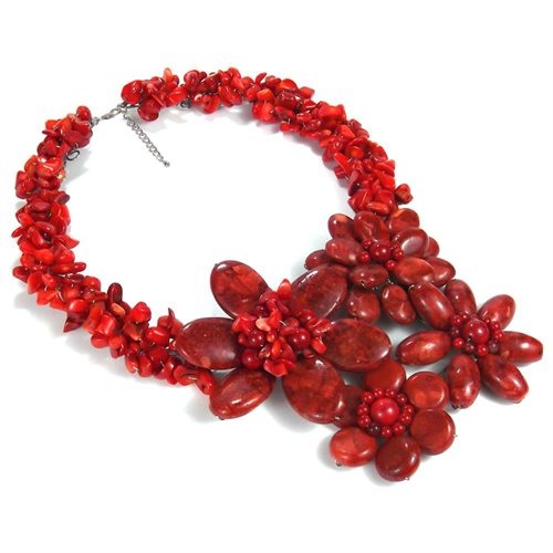 Bold Large Red Coral Flower Garland .925 Silver Necklace 1