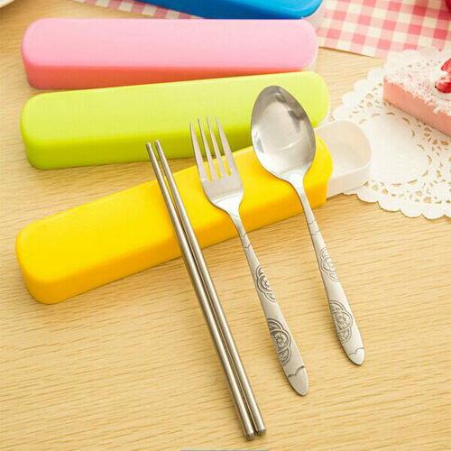 PS Mall 糖果色時尚環保不銹鋼筷勺叉 戶外可擕式餐具 三件套【J2101】