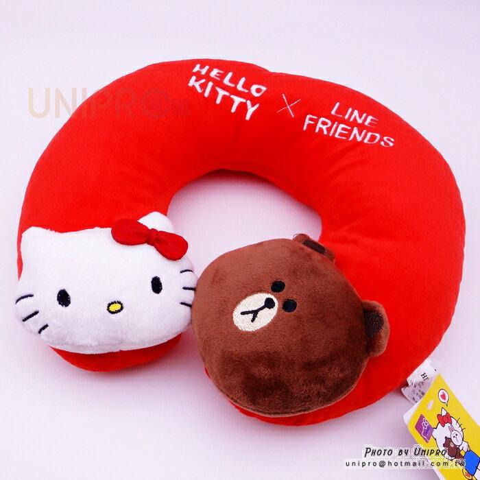 【UNIPRO】Hello Kity x LINE FRIENDS 凱蒂貓 熊大 KT 立體頸枕 U型枕 旅行枕 靠枕 頸枕 正版授權