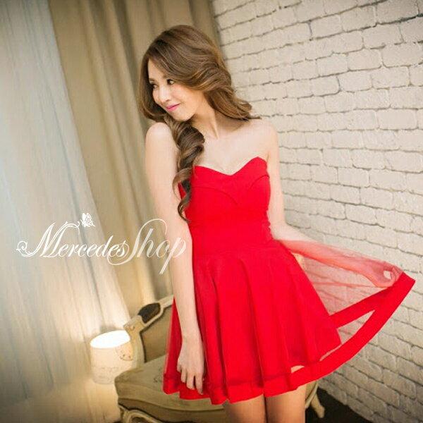 ^~ 6折^~ 素面M型傘擺裙平口洋裝禮服 ~ 梅西蒂絲