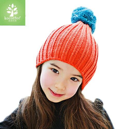 Kocotree◆ 秋冬簡約氣質純色糖果色立體大毛球兒童保暖毛線帽-橘黃