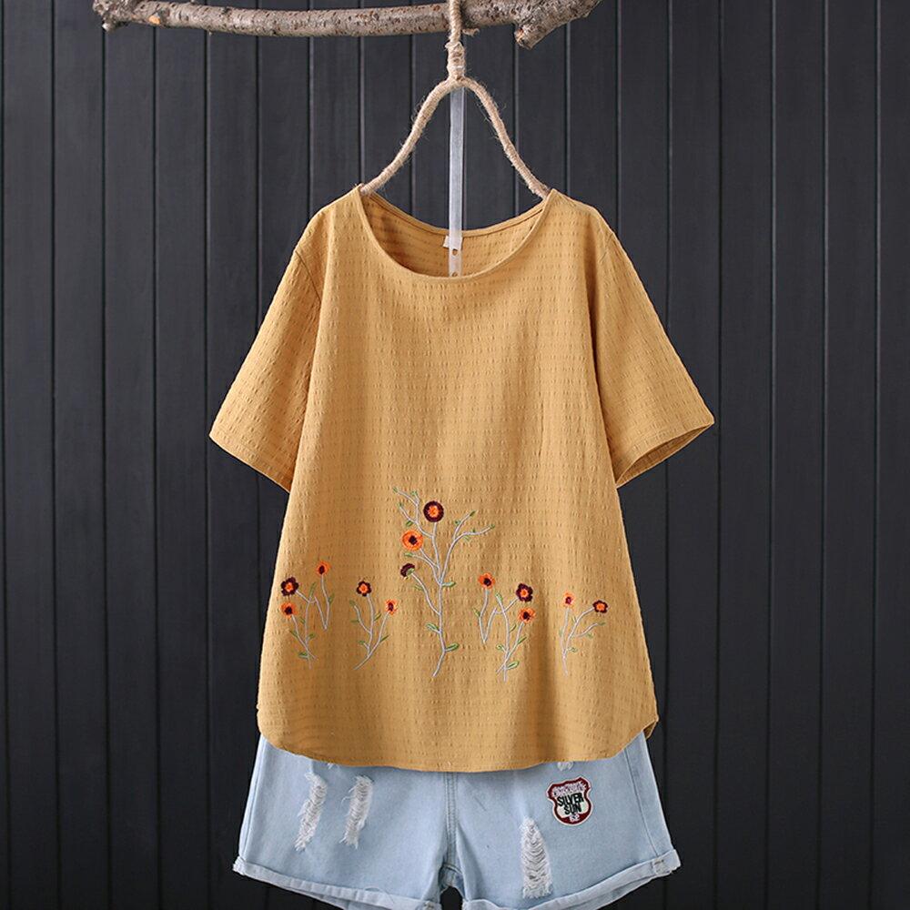 純棉提花布刺繡圓領休閒寬鬆短袖t恤(3色XL~4XL)【OREAD】 3