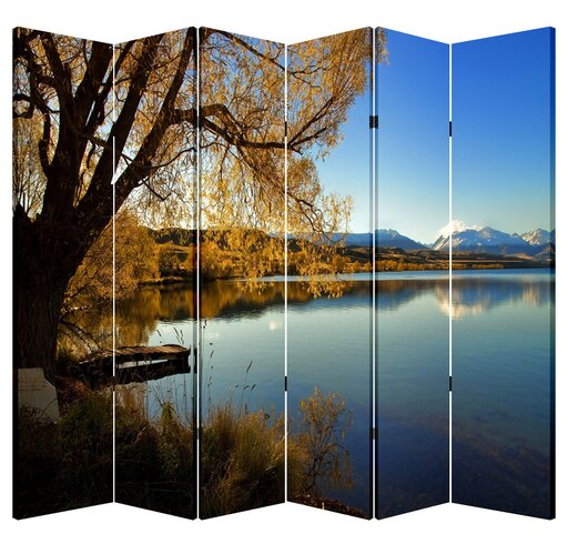 6 Panels Canvas Double Sided Folding Screen Room Divider- Lake