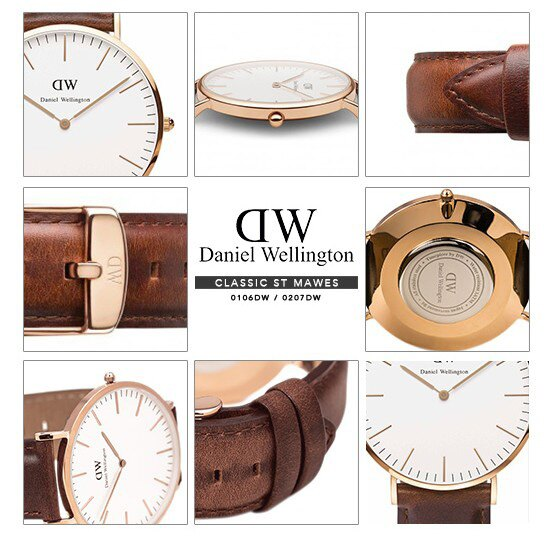 瑞典正品代購 Daniel Wellington 0106DW 玫瑰金 真皮 錶帶 男女錶 手錶腕錶 40MM 5