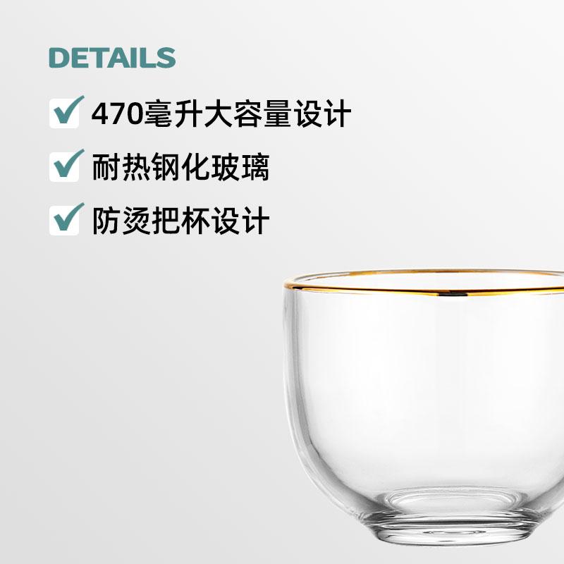 【ZB專享】金邊早餐家用玻璃水杯簡約ins牛奶咖啡杯