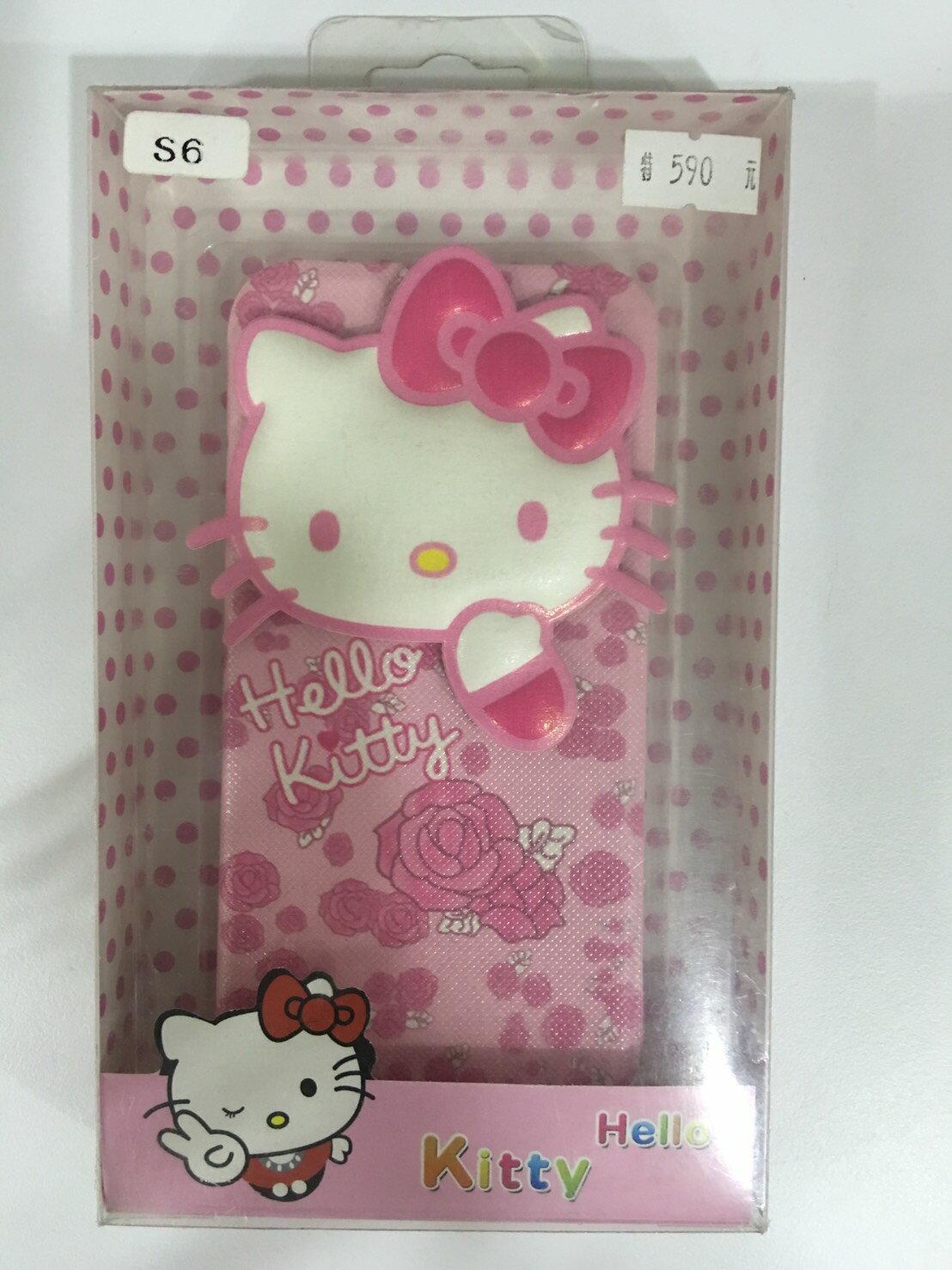 【星欣】SAMSUNG S6 Hello Kitty 粉紅玫瑰 側掀式皮套 直購價