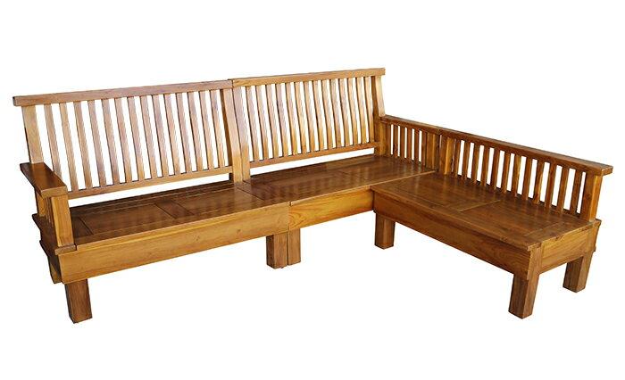 【尚品傢俱】792-24 柚木L型木組椅+931-01柚木大茶几/會客木椅組/客廳木組椅/家庭木製沙發組