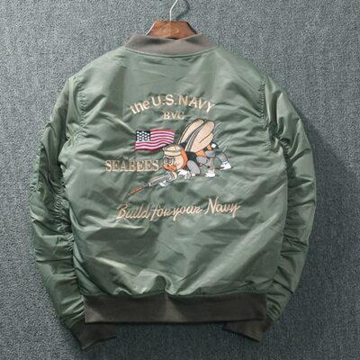 ☆空軍夾克 MA1外套(單件) -美式復古刺繡寬鬆男女外套2色72av18【獨家進口】【米蘭精品】