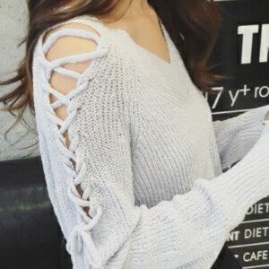 美麗大街~MeB062e21e7391~ 鏤空針織V領套頭長袖毛衣