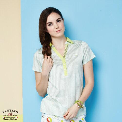 【FANTINO】女裝 夏日清新感80支雙絲光棉polo衫 (粉綠、紅) 571101-571102 3