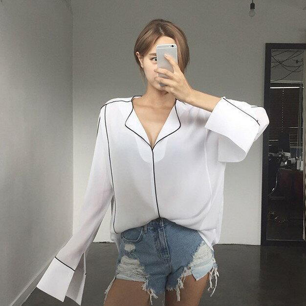 PS Mall 韓系睡衣風翻領V領包邊長袖外穿襯衫~T2481~ ~  好康折扣