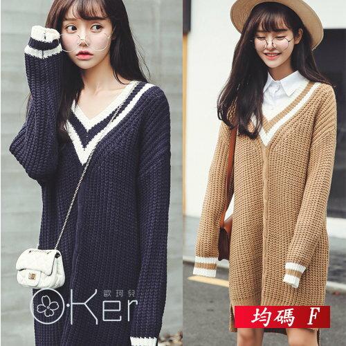 韓劇學院風大V領復古麻花針織長版洋裝 均碼 O-Ker歐珂兒 LLB161