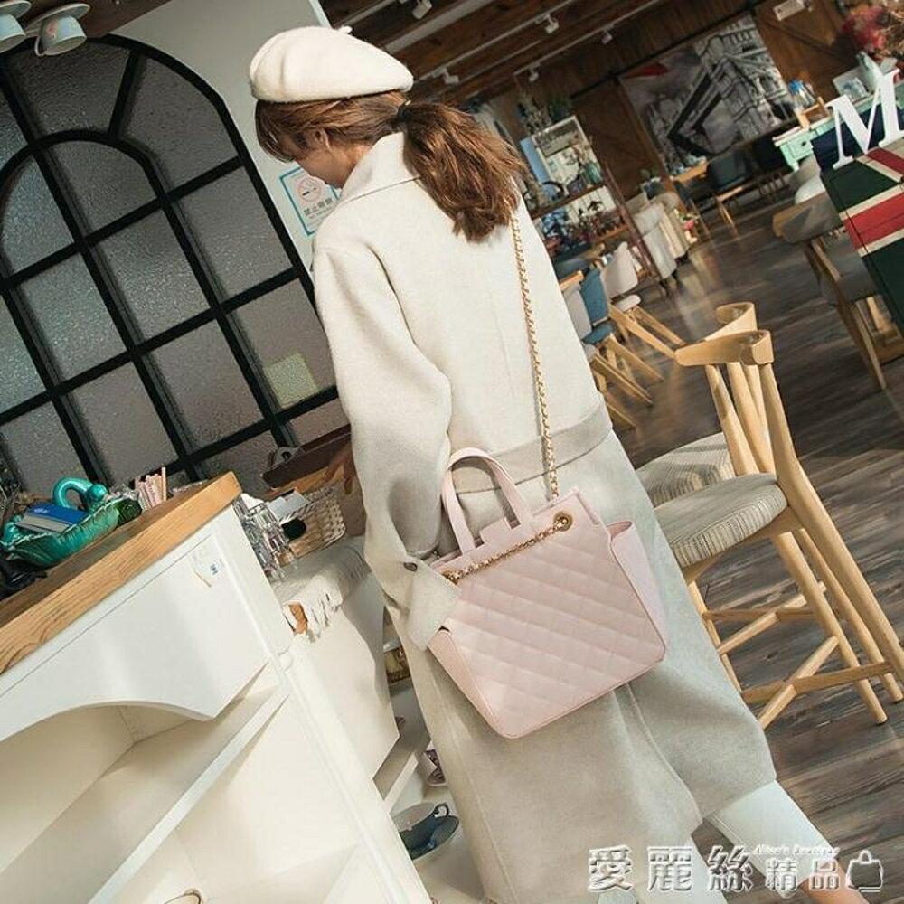 手提包新加坡網紅小香風小ck女包側背包菱格鍊條斜背大包 年貨節預購