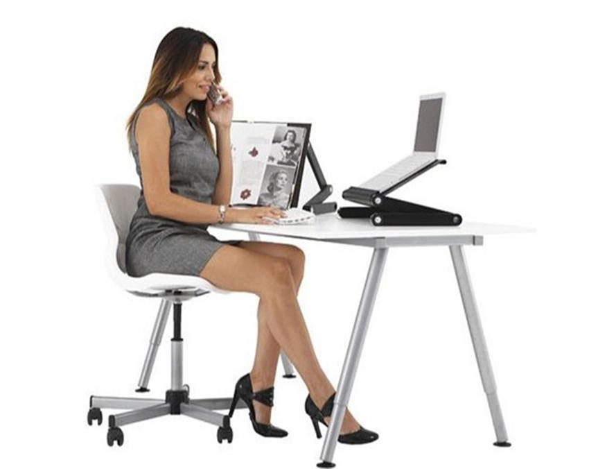 360 Degree Adjustable Foldable Laptop Notebook Desk Table Stand Tray With Fan 4