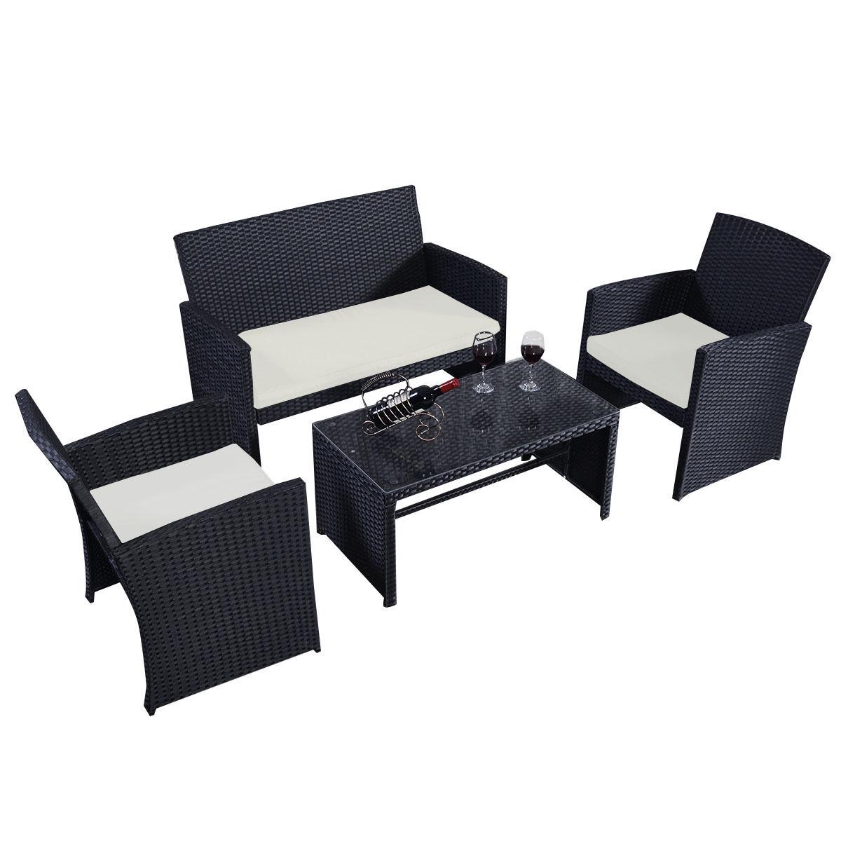 Costway 4 Pc Rattan Patio Furniture Set Garden Lawn Sofa Wicker Cushioned Seat Black 3