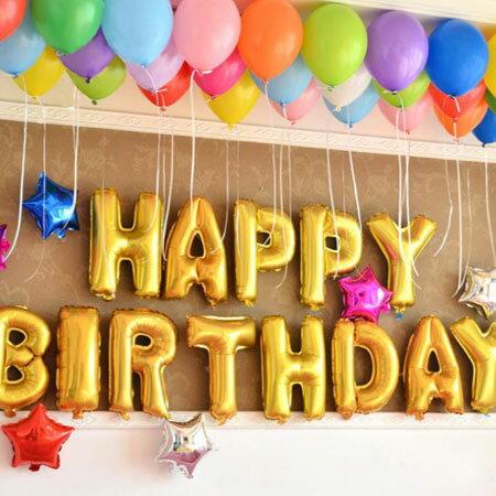 生日派對布置裝飾鋁箔氣球 Happy Birthday字母(1組/無充氣) 鋁膜氣球 氣球 布置 派對 裝飾 生日趴 慶生Party【B062533】